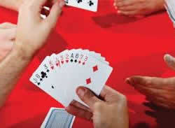 Photo of bridge hand in play